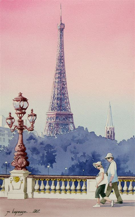 eiffel tower and tourists watercolors painting