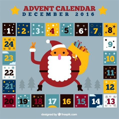printable santa claus advent calendar squares advent calendar and santa claus vector free download