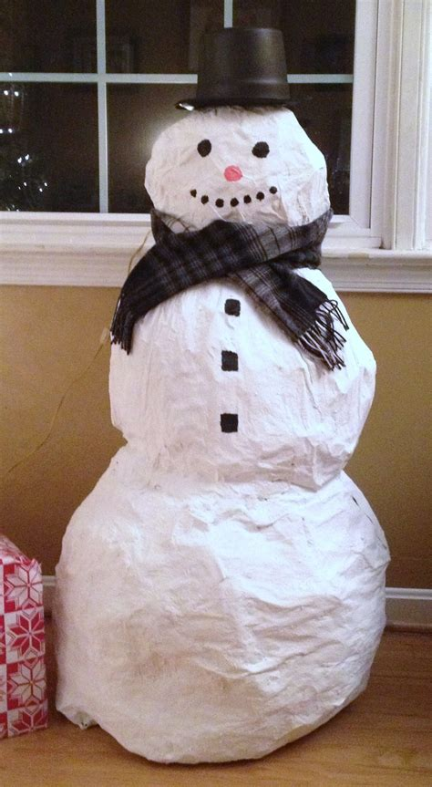 How To Make A Snowman Out Of Paper Plates - how to make a paper mache snowman snowman
