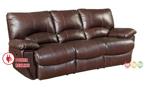 Top Grain Leather Power Reclining Sofa Clifford Dual Power Reclining Brown Top Grain Leather Sofa