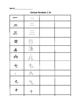 printable mandarin numbers chinese numbers 1 10 worksheet by andrea yee teachers