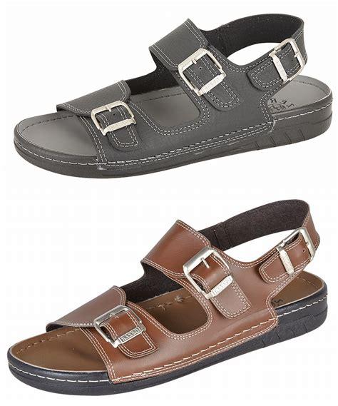 mens wide sandals mens gezer leather look wide fit jesus sandals mules black