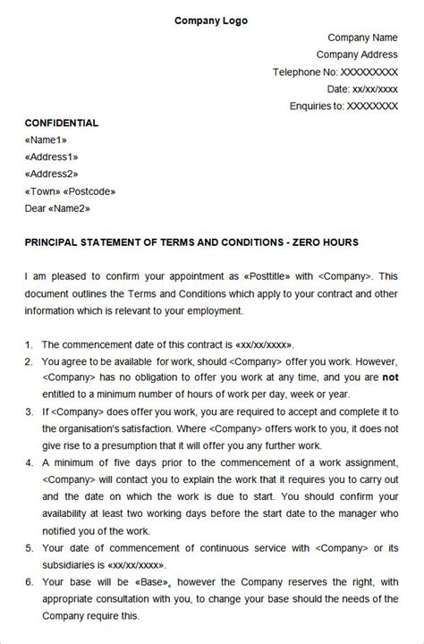 0 hours contract template 14 hr contract templates hr templates free premium