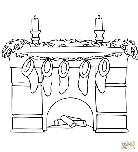 camino da colorare disegno di caminetto con calze natalizie da colorare