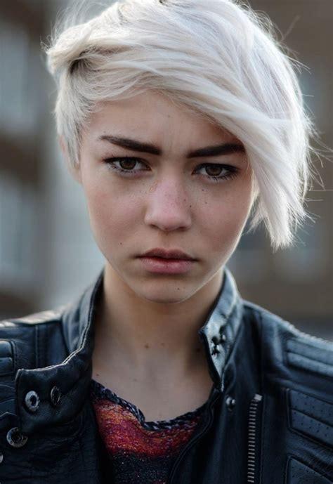 short white hair short platinum hair and fabulous eyebrows diggin your