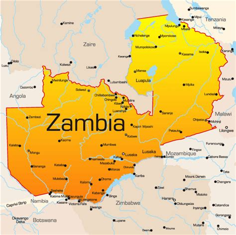 zambia map showing attractions accommodation