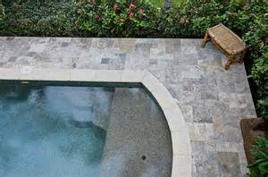Remodeling Backyard Silver Travertine Pavers Amp Coping Tropical Pool