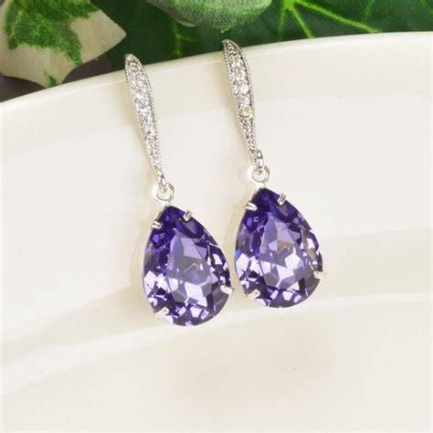 purple earrings tanzanite swarovski teardrop earrings