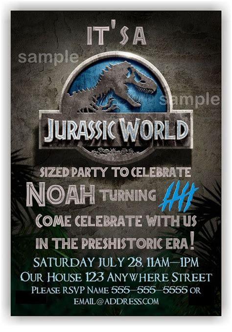 printable jurassic world birthday invitations jurassic world birthday invitation by benannainvites on