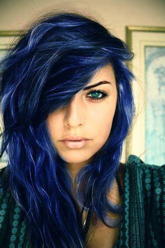 blue black hair tips  styles dark blue hair dye styles