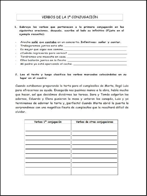 lengua 5 primaria fichas de lengua 5 176 de primaria verbos primera conjugaci 211 n web pedag 211 gica primaria