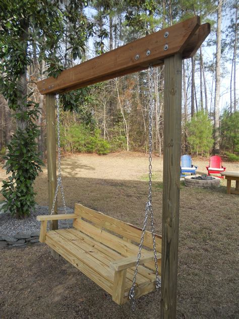 swinging in the backyard modified bench swing bigdiyideas com