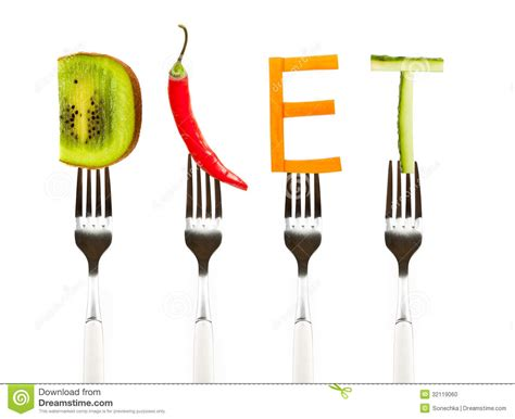 Teh Diet word diet made of fresh tasty vegetables on forks stock