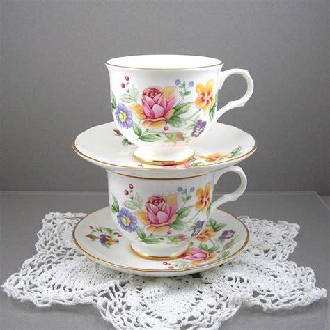 Cup And Saucer Shabby vintage teacups and saucers sadler wellington bone china 2