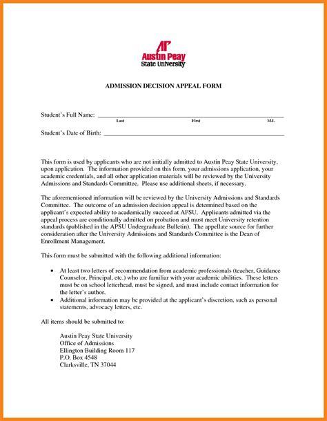 Appeal Letter For College Appeal Letter Teller Resume Sle