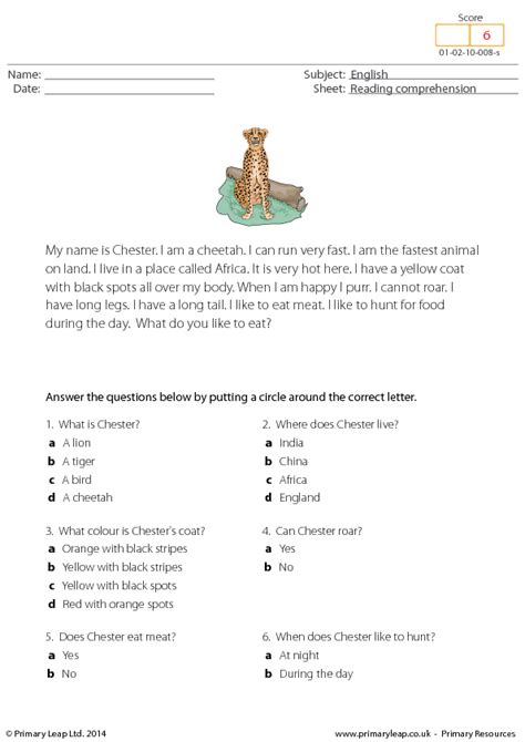 reading comprehension test multiple choice questions chester the cheetah reading comprehension