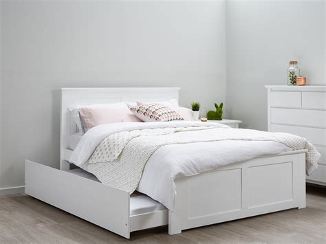 fantastic double bed trundle white timber b2c