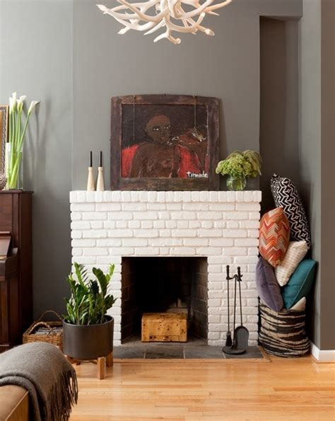 Wall Color With Brick Fireplace by White Brick Fireplace Gray Walls For The Home