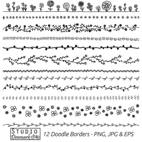 free doodle lines floral doodle borders clipart set commercial use 12 flower
