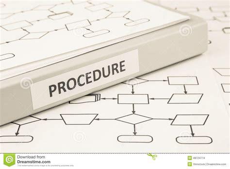 The Procedure procedure process concept for work stock photo