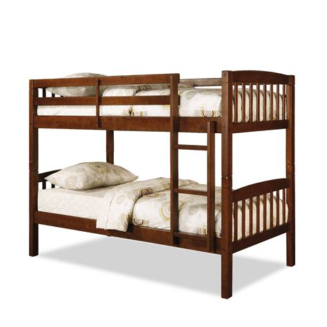 Dorel Belmont Twin Bunk Bed Walnut Bunk Beds