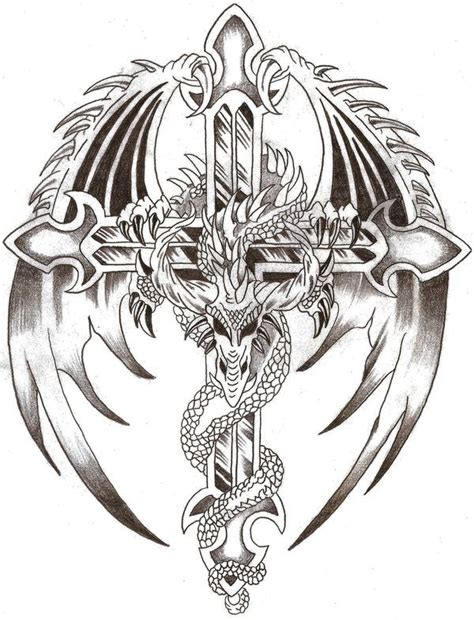 dragon and cross tattoo lord by thelob on deviantart dragons black
