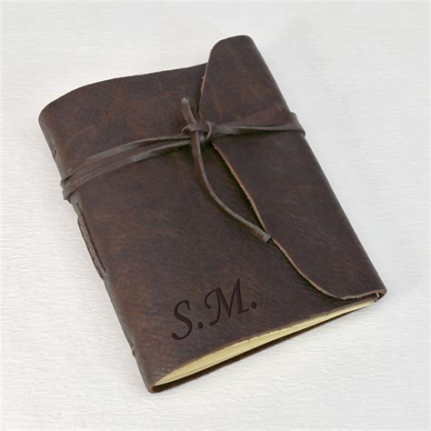 How To Make A Handmade Leather Journal - personalized gifts antiqued leather bound journal shop now