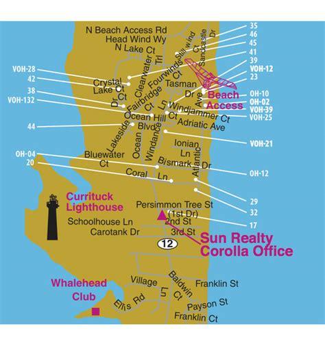 corolla light resort map map of corolla carolina vacation rentals outer