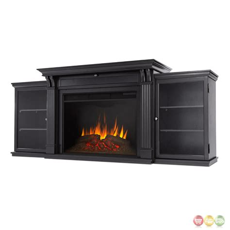 Entertainment Center With Electric Fireplace Tracey Grand Entertainment Center Electric Fireplace In Black 84x35