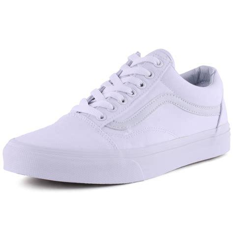 vans skool mens womens trainers canvas white white new