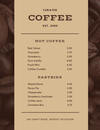 Menu Card Template Word Modern Clean by Customize 158 Cafe Menu Templates Canva