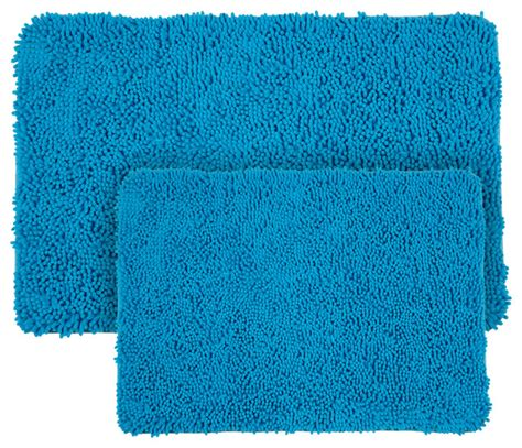 Memory Foam Bathroom Rug Set by 2 Shag Memory Foam Bath Mat Set Blue