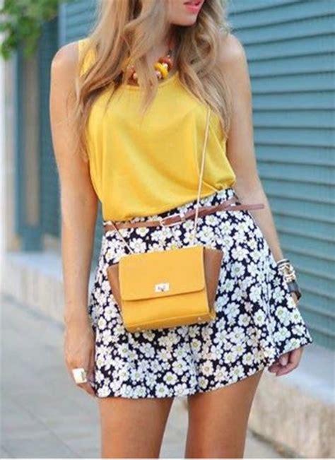 yellow pattern skater skirt white skirt fashion floral dress floral skater