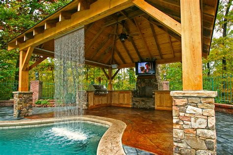 Outdoor Living Mid State Pools Backyard Designs With Pool And Outdoor Kitchen