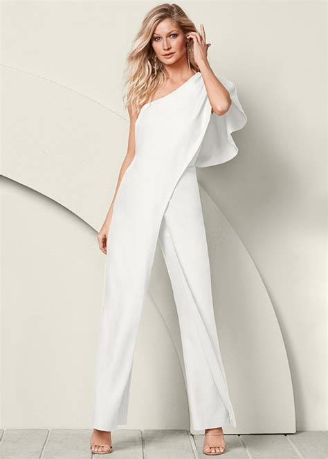 When Its Black Go For Something Embellished by White Cape Shape Top Jumpsuit Monochrome Colorblock At
