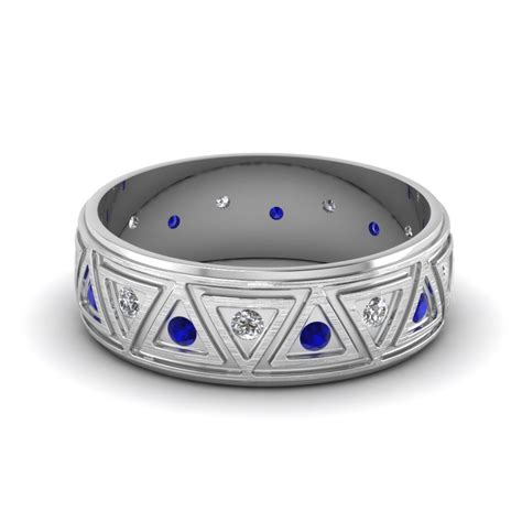 brushed finish wedding band with sapphire in 14k
