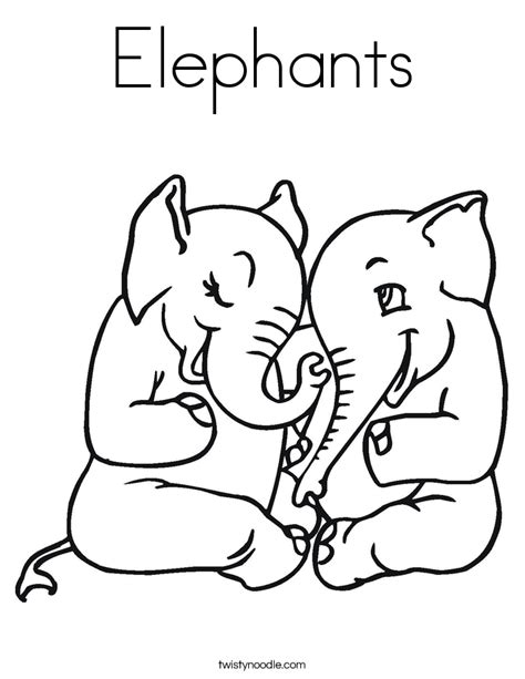 girl elephant coloring pages elephants coloring page twisty noodle