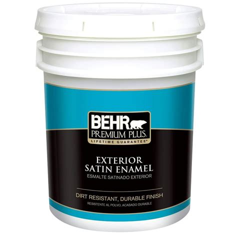 behr premium plus 5 gal ultra white satin enamel exterior paint 905005 the home depot