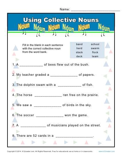 Collective Nouns Worksheets For Grade 6 by Collective Noun Worksheets Using Nouns