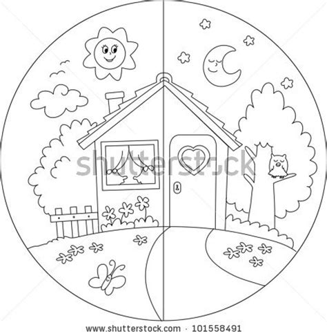 day and night coloring page for kindergarten 14 best images of day and night worksheets preschool