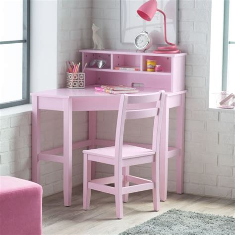 corner desk and chair set pink kids bedroom shelves