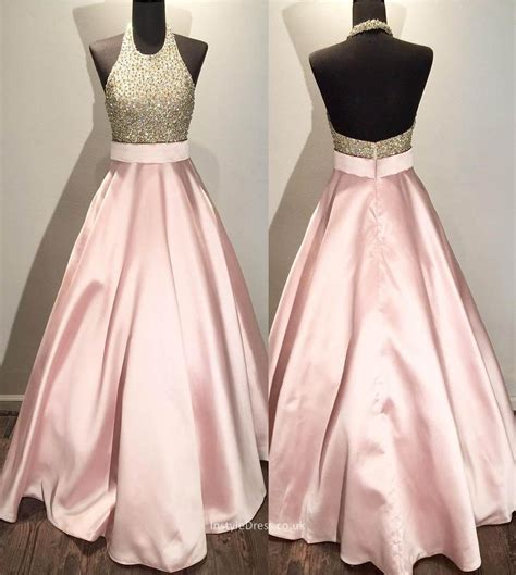 Pink Halter Satin Dress petal pink beaded halter gown satin prom dress