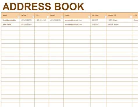 6 excel address book template memo templates