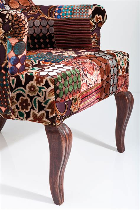 Patchwork Upholstered Furniture - upholstered high back fabric armchair patchwork velvet by