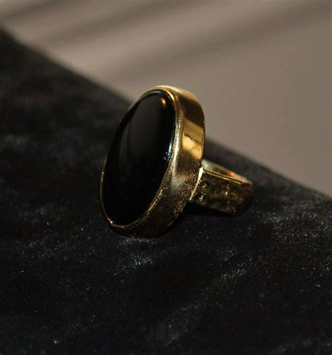 14k large custom black onyx and gold ring 1970 s from