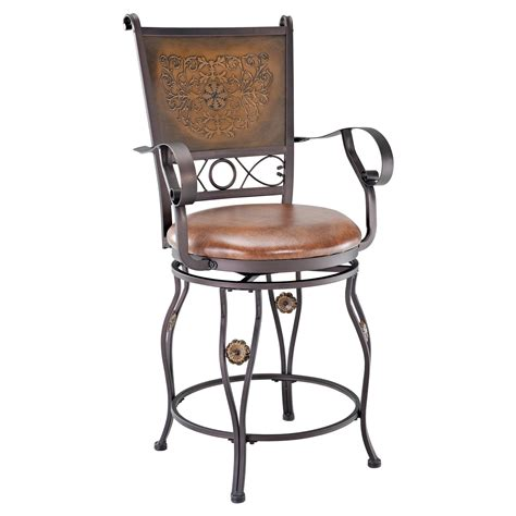 bar stools with back and arms that swivel powell big tall copper sted back swivel counter stool