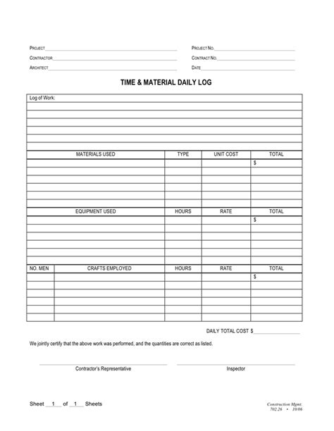 Time And Material Daily Log In Word And Pdf Formats Time And Material Template