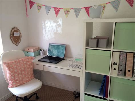 white home office ikea micke desk  kallax shelving