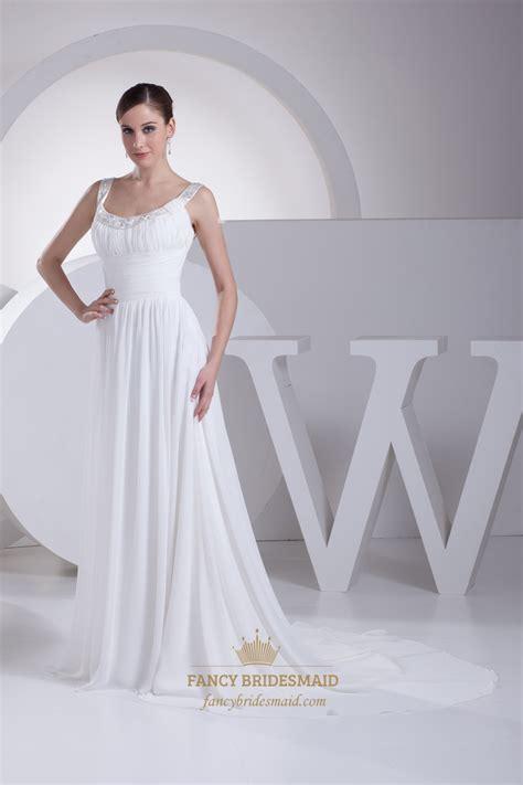 beaded white prom dress white sleeveless chiffon prom dress with beaded neckline