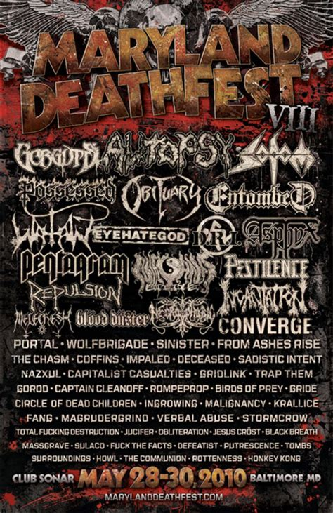maryland deathfest map maryland deathfest 2010 daily schedule all metal festivals